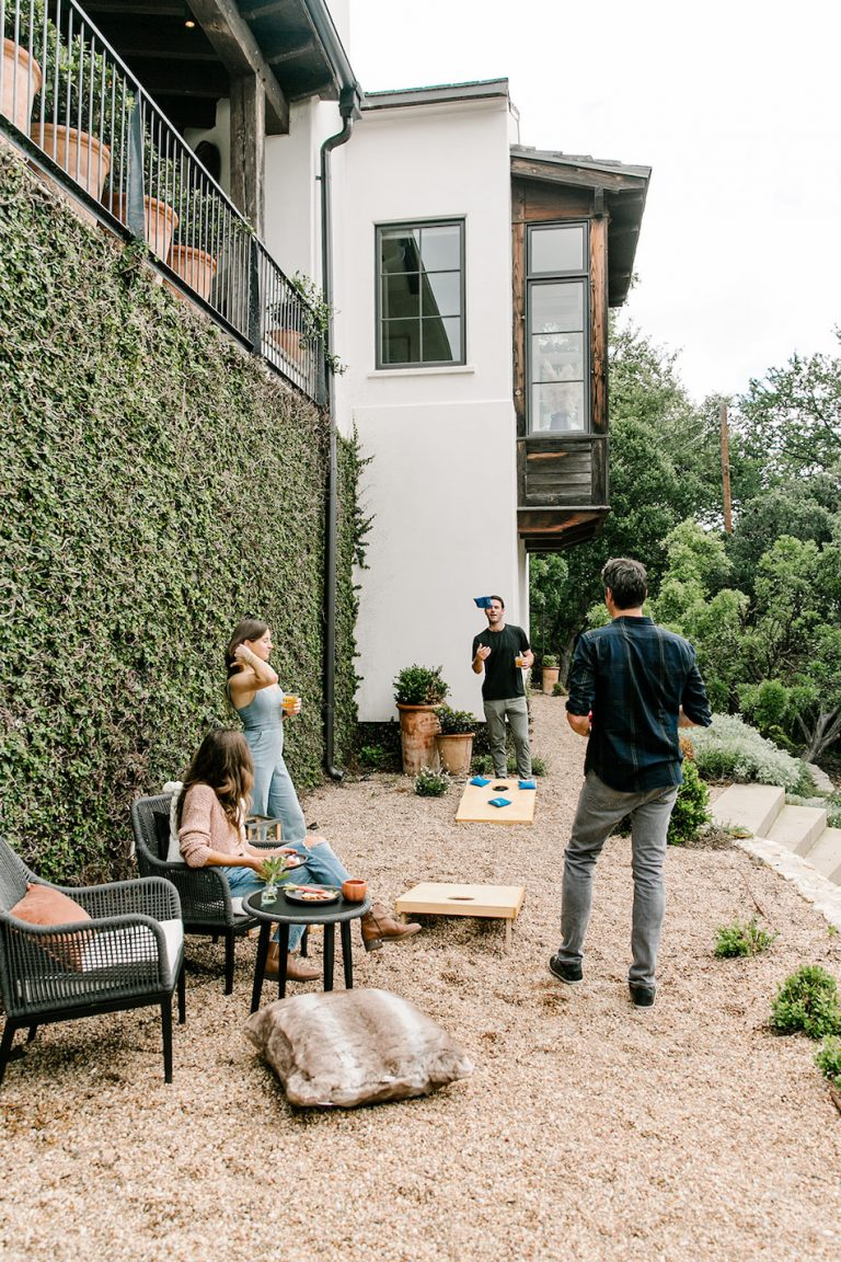 yard games, beanbag toss, friends hanging out - backyard game night with target