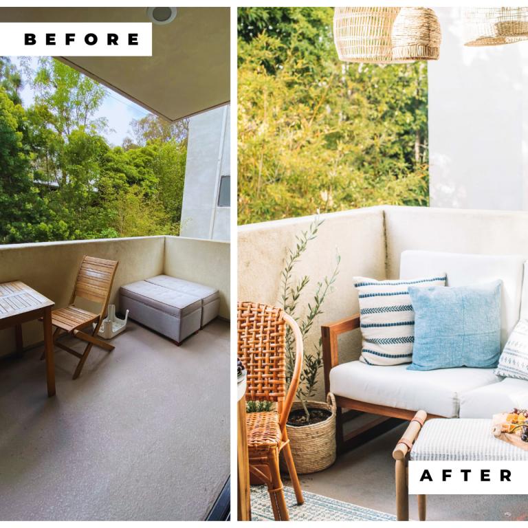 Pequeño patio antes y después