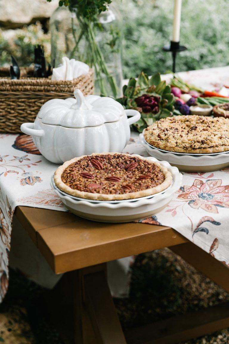 Fall pie on autumn buffet - backyard game night with target