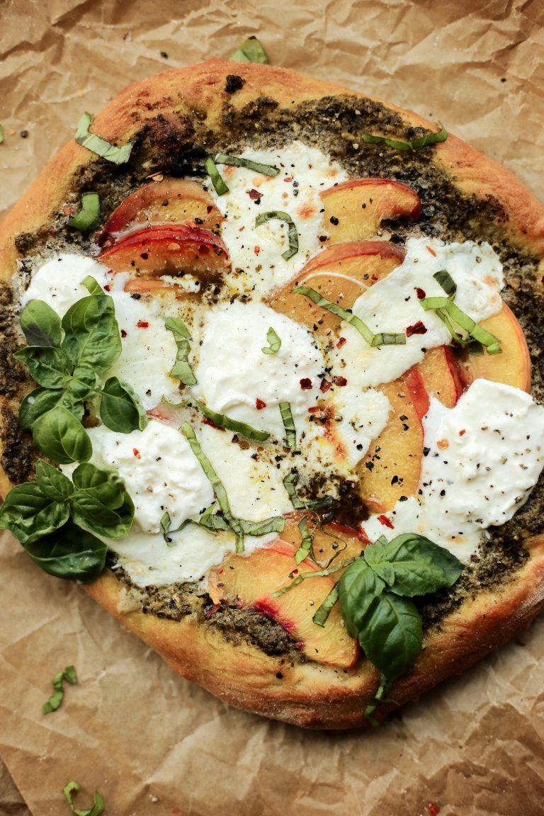 peach pesto and balsamic pizza