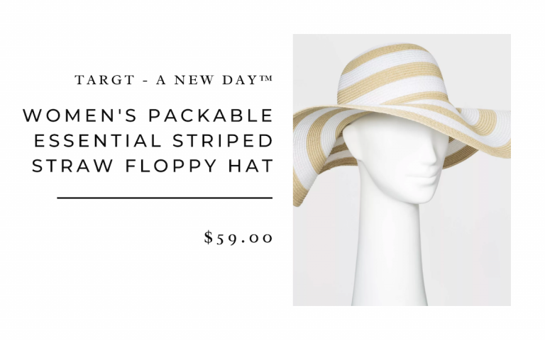 Women's Packable Essential Striped Straw Floppy Hat - A New Day™