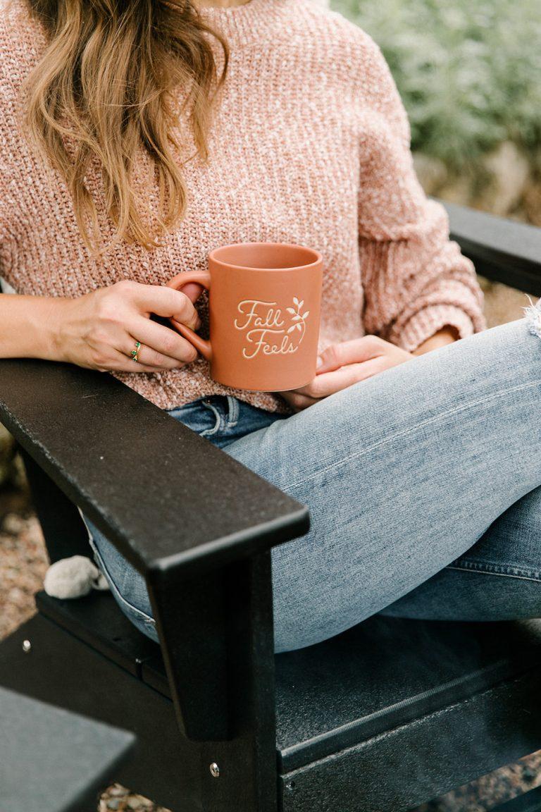 cozy mug, fall feels, backyard game night with target