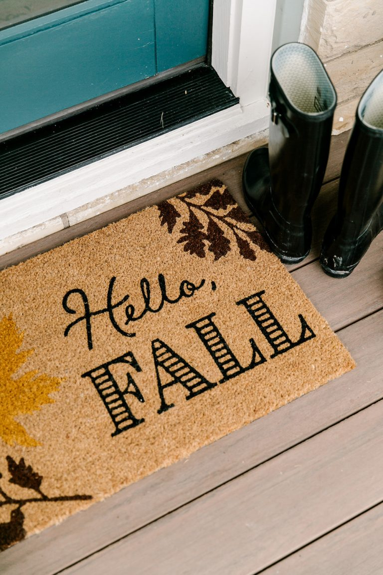 fall front porch decor with target, hello fall doormat