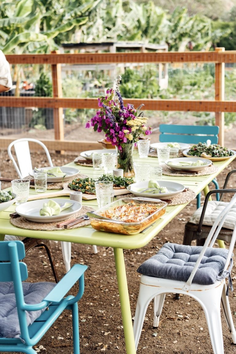 Plumcot Farm setting the table for a dinner party