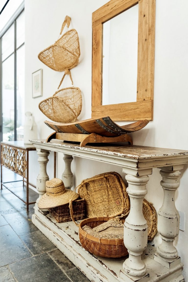 woven baskets in entryway, plumcot farm