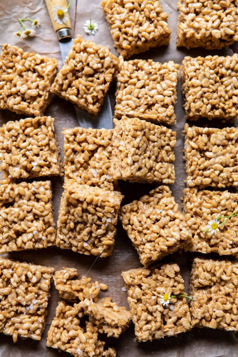 brown butter rice krispies treats from half baked harvest