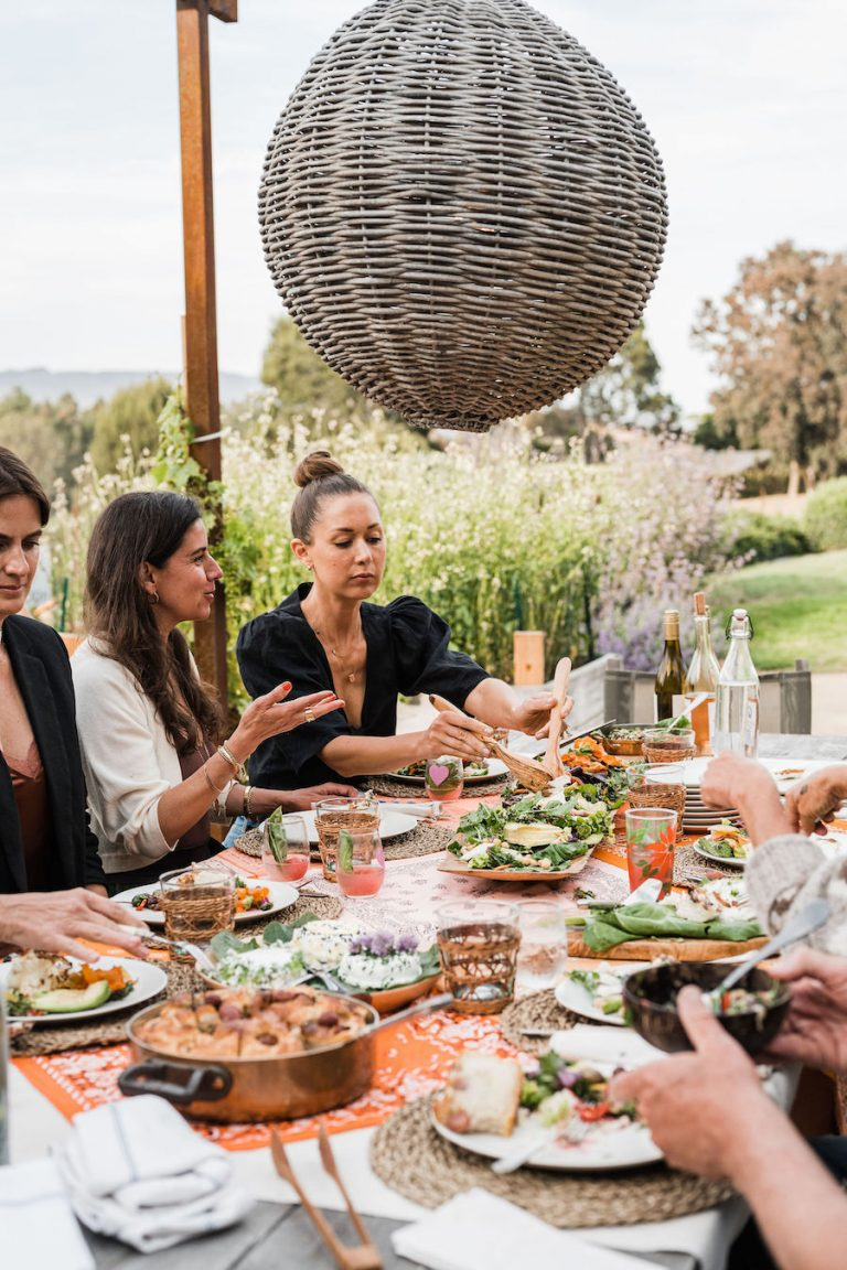 Grilled fish with olives from Malibu Farm sunrise to sunset - summer dinner party, fresh vegetables, Helene Henderson - Malibu Farm - Camille Styles