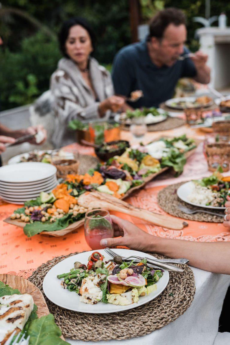 rainbow salad, summer dinner party, fresh veggies, helene henderson -malibu farm