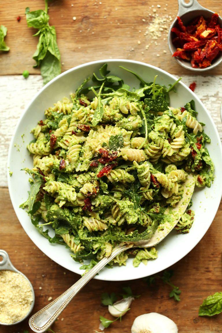 pea pesto pasta salad from minimalist baker