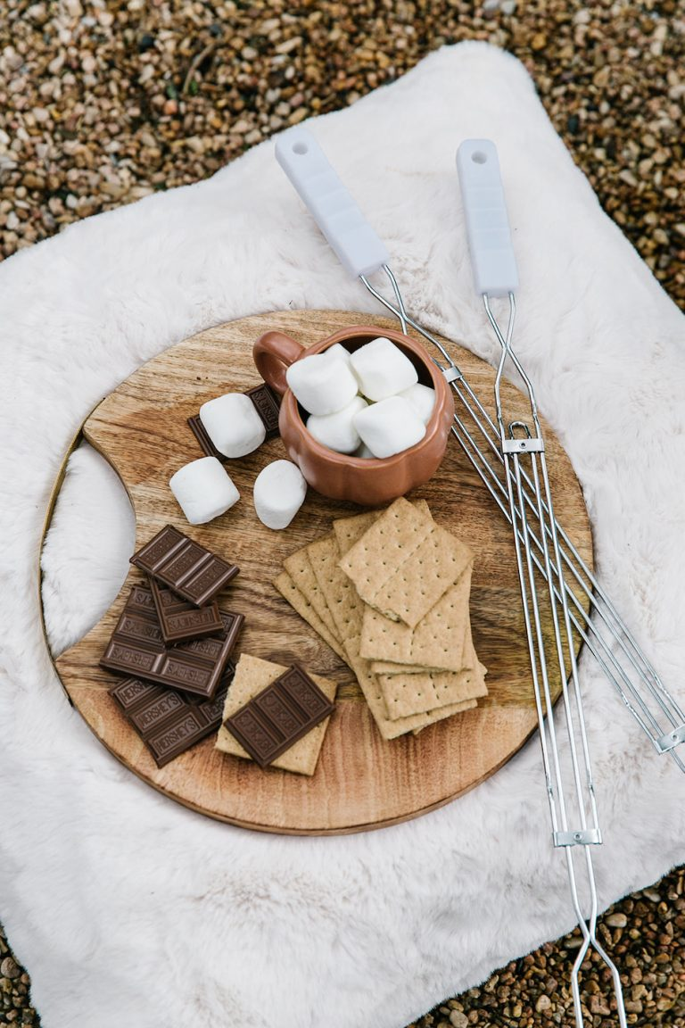 fire pit with s'mores, backyard game night to celebrate fall with target
