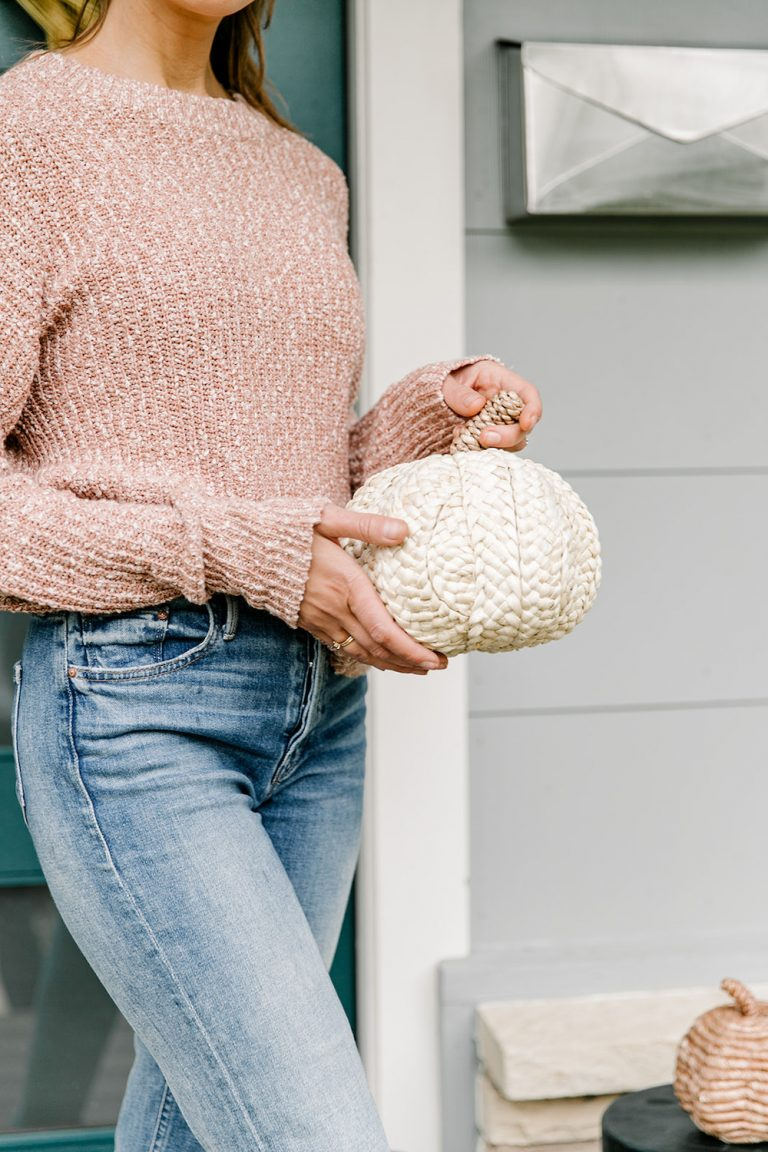 fall front porch decor with target, woven pumpkin