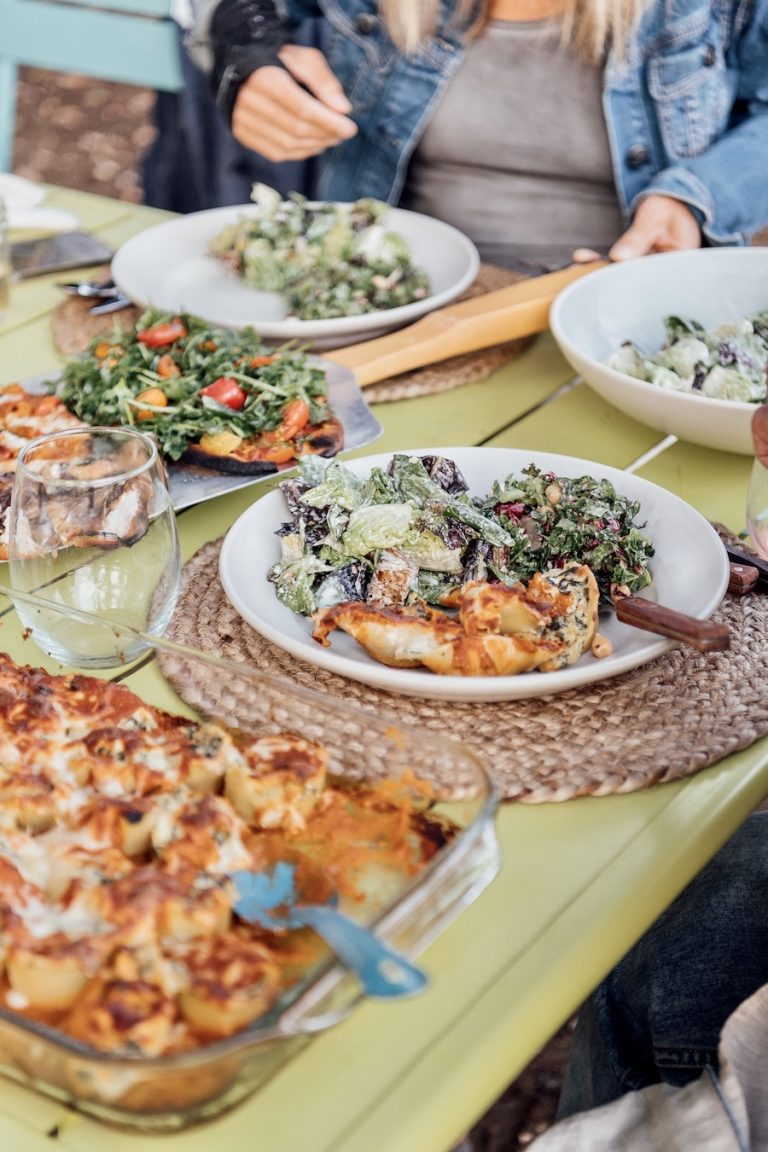 italian food on the table at a dinner party at Plumcot Farm