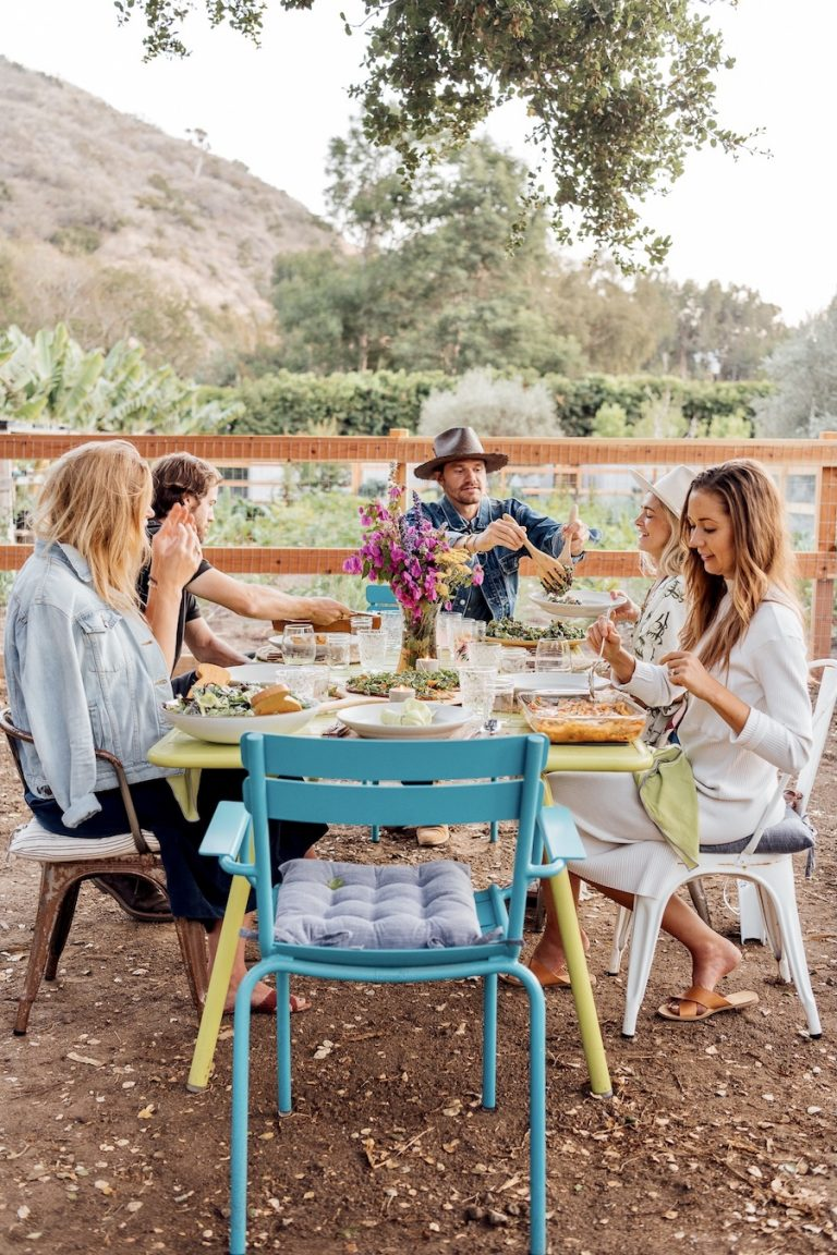 guests seated at the table for a summer dinner party at Plumcot Farm in Malibu
