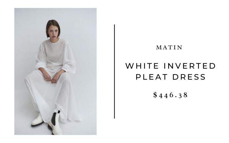 Martin White Inverted Pleat Dress