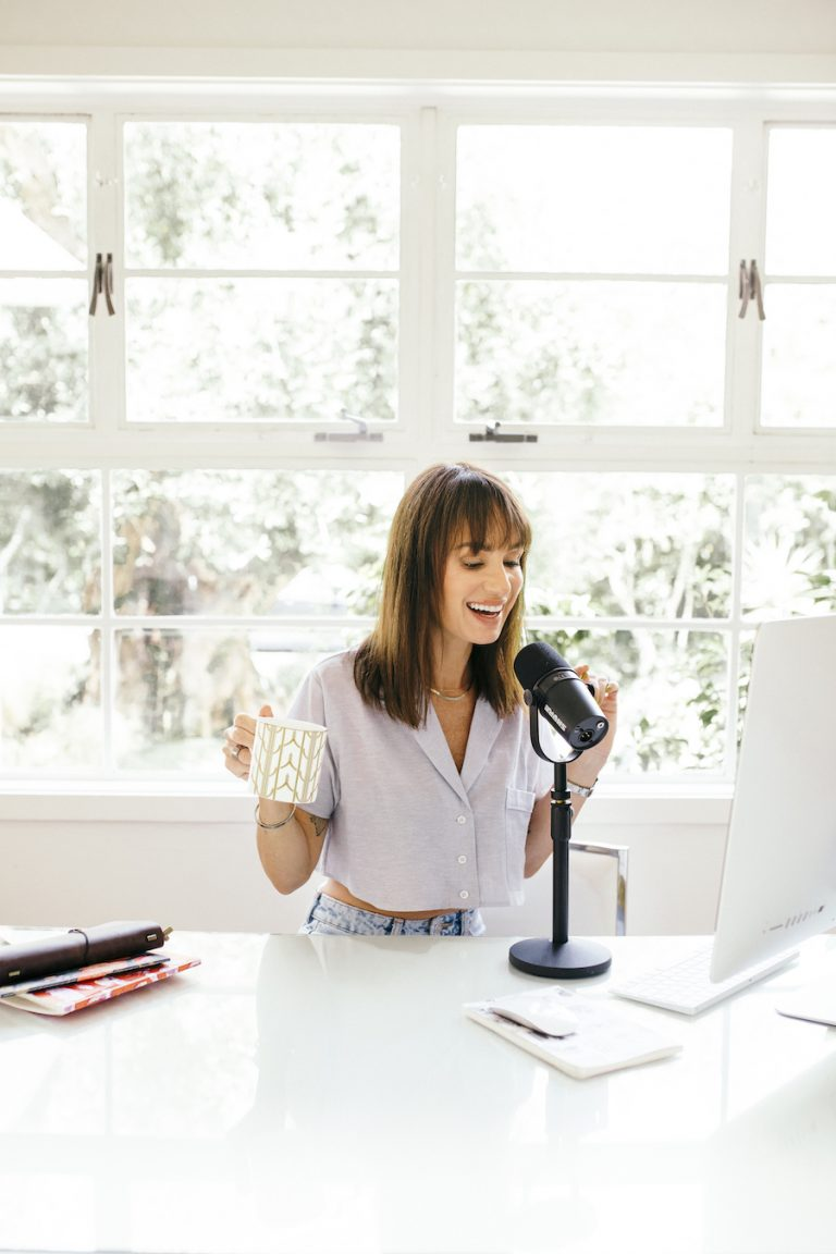 catt sadler's morning routine, desk, home office, workspace, computer, podcast, microphone