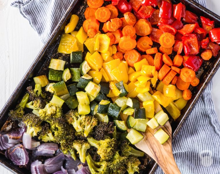rainbow roasted veggies from coconuts and kettlebells