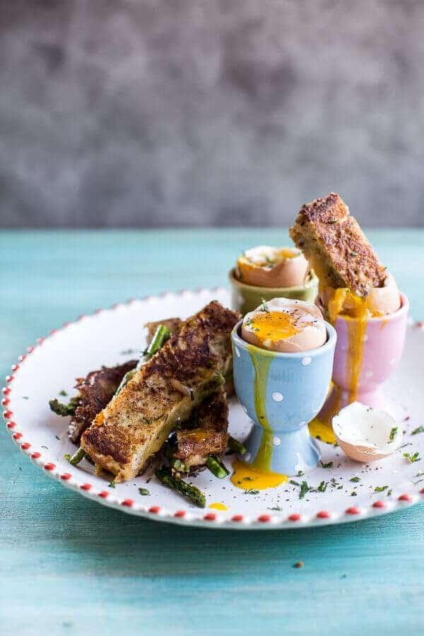 drippy eggs with asparagus toasts