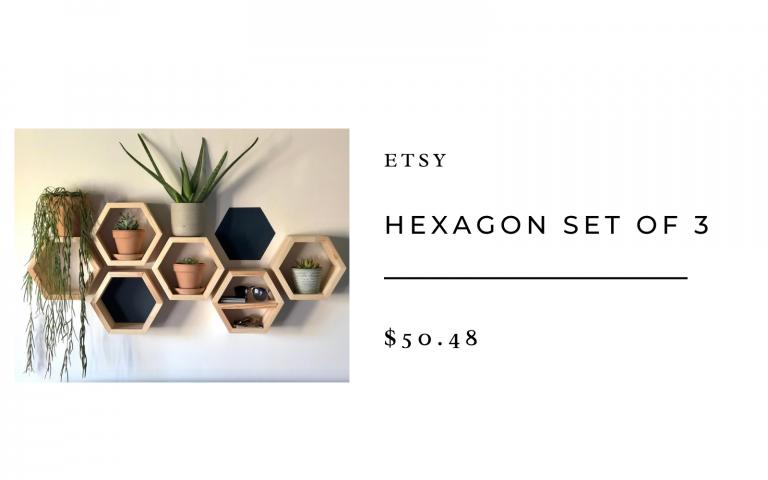 hexagon floating shelf etsy