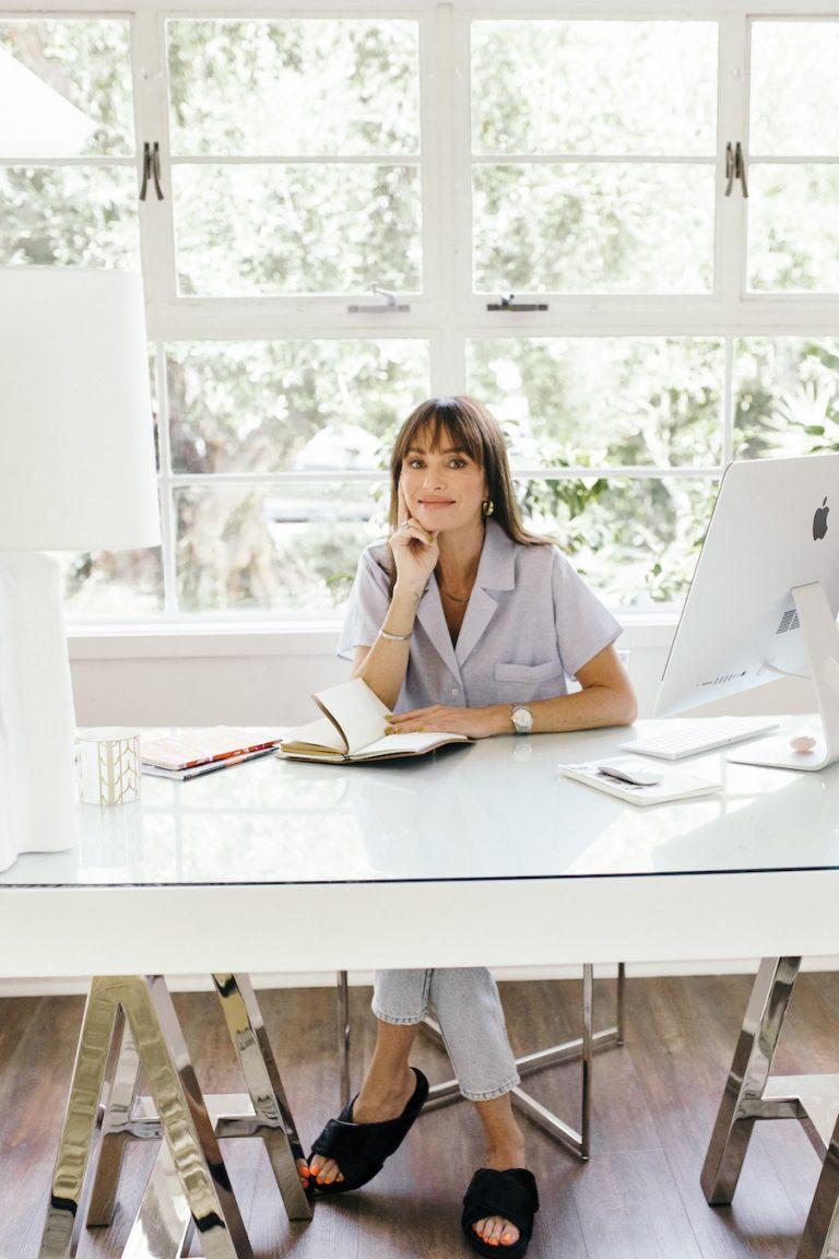 catt sadler's morning routine, desk, home office, workspace, journaling, computer