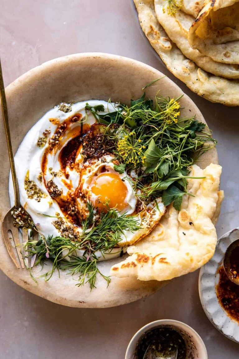 zaatar eggs with lemony yogurt and herbs