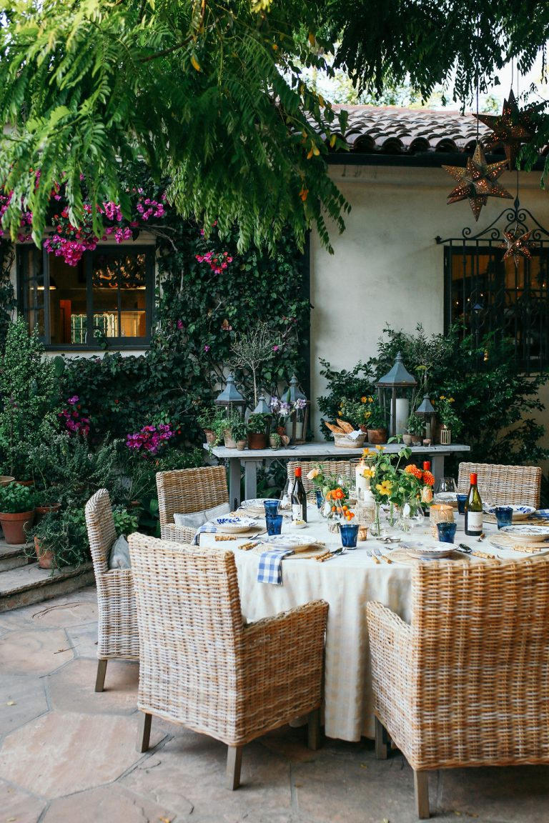 Valerie Rice dinner party in Santa Barbara, bougainvillea and mediterranean house exterior, table setting