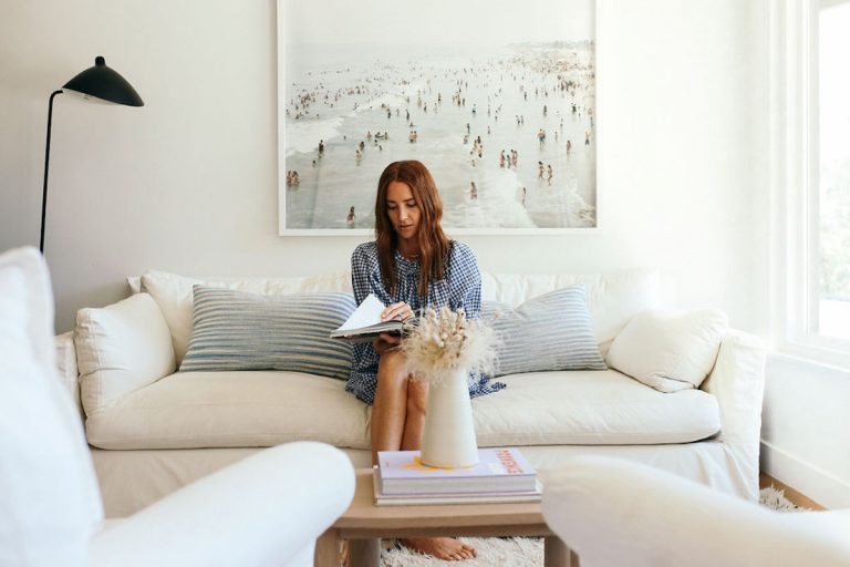 samantha wennerstrom, could i have that, california, reading, relaxing in living room on couch
