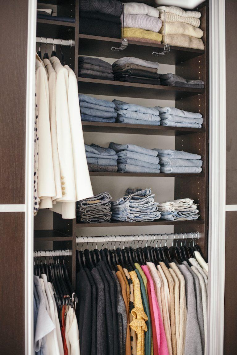 catt Sadler's morning routine, well-organized wardrobe, jeans, denim