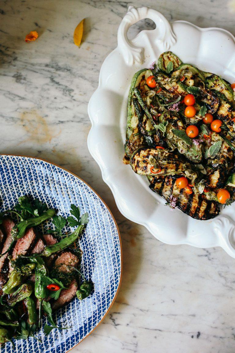 Valerie Rice dinner party, eggplant and grilled steak, summer dinner