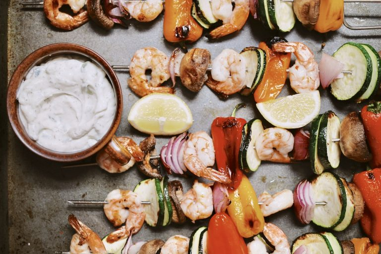 This tzatziki shrimp skewers recipe is the easy dinner we all need