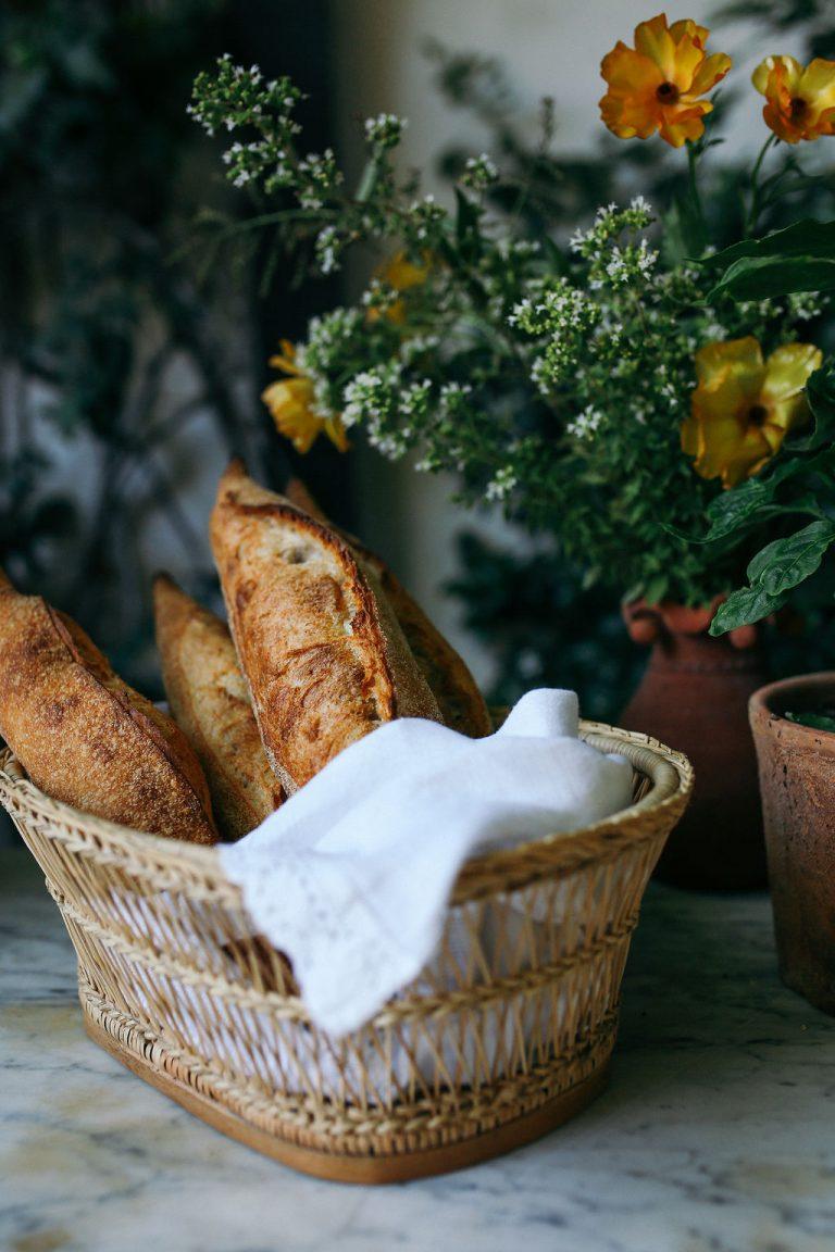Valerie Rice dinner party, baguette, bread