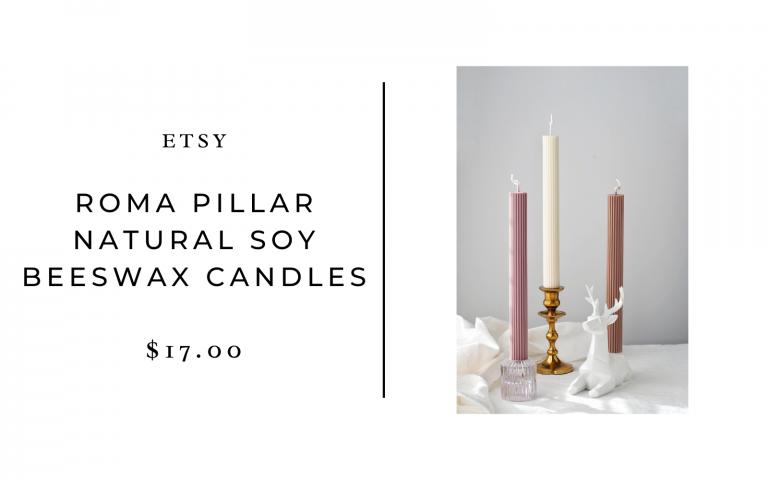 roma pillar natural soy beeswax candles
