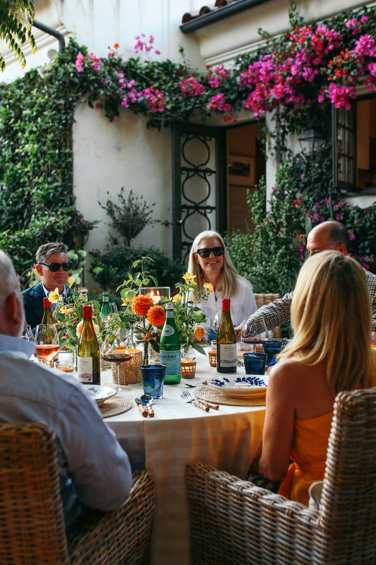 Valerie Rice dinner party in Santa Barbara, table with guests
