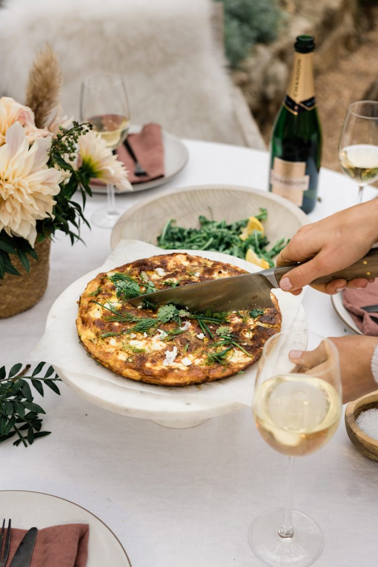 frittata with red peppers and goat cheese