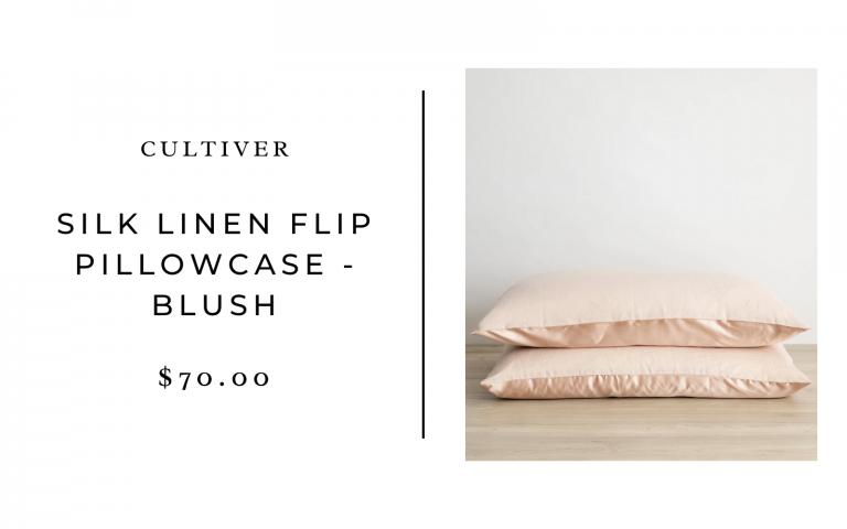 Cultiver Silk Linen Flip Pillowcase (Set of 2) – Blush / Standard