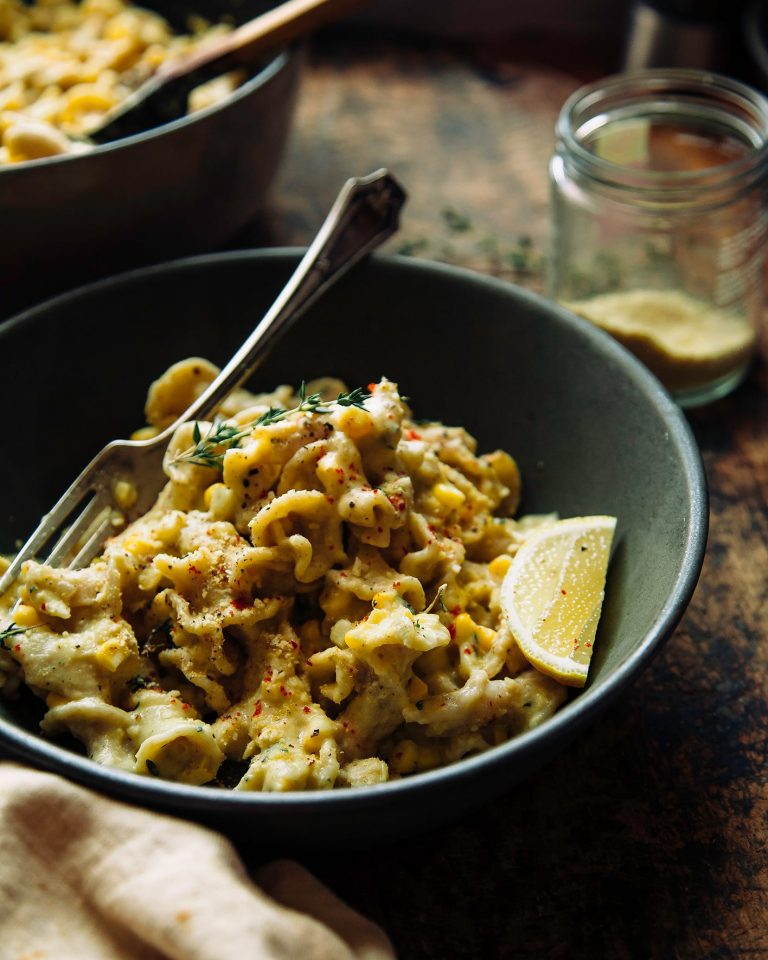 creamy corn and lemon pasta with thyme