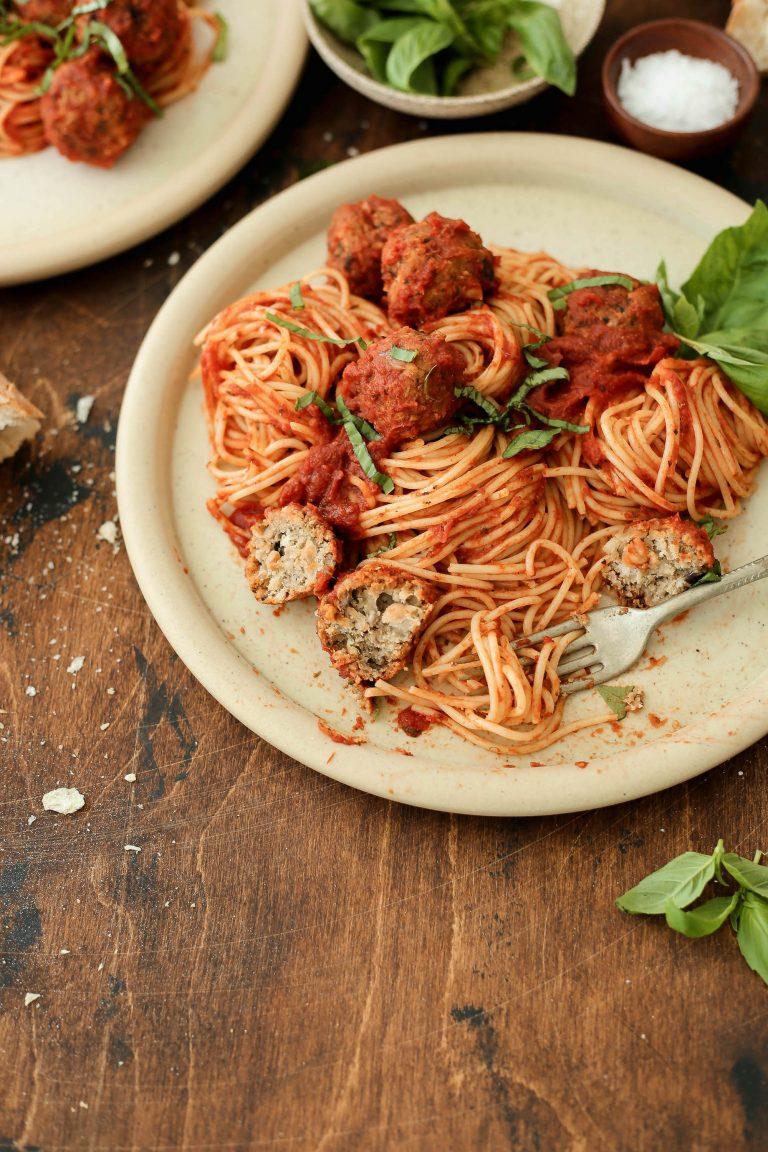 easy mushroom and white bean vegan meatballs for your weeknight spaghetti