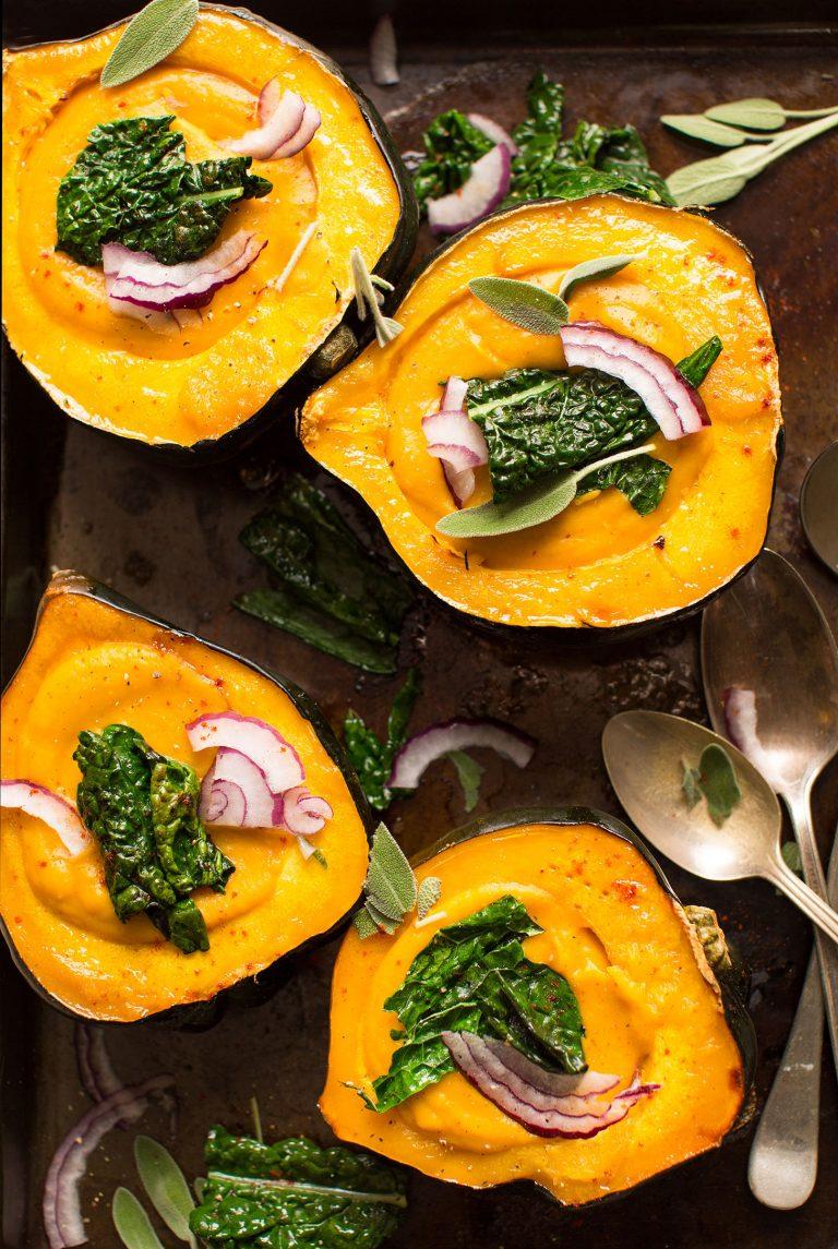 creamy fall soup in acorn squash bowls