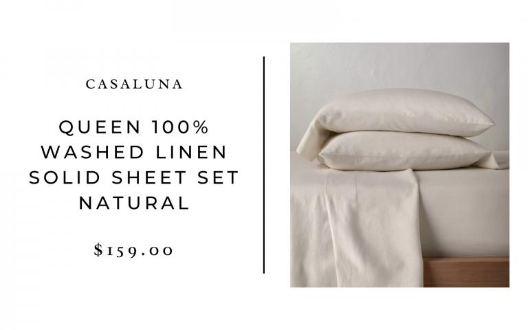 Casaluna Queen 100% Washed Linen Solid Sheet Set Natural
