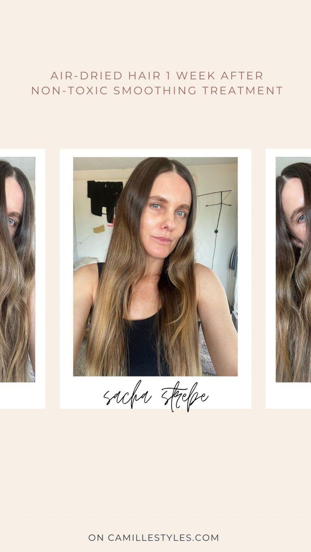موهای خشک شده دارای درمان صاف کننده طبیعی مو هستند