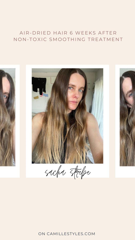موهای خشک شده هوا درمان طبیعی صاف کردن موها_هفته 6