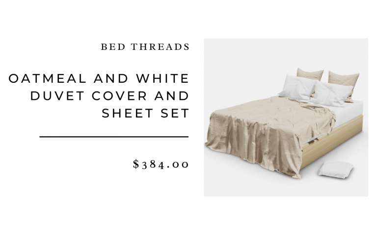 Bed Threads Oatmeal and White Duvet Cover and Sheet Set