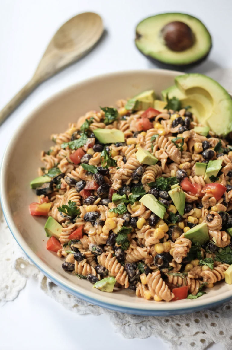 Healthy Southwest Pasta Salad with Chipotle-Lime Greek Yogurt Dressing from Ambitious Kitchen