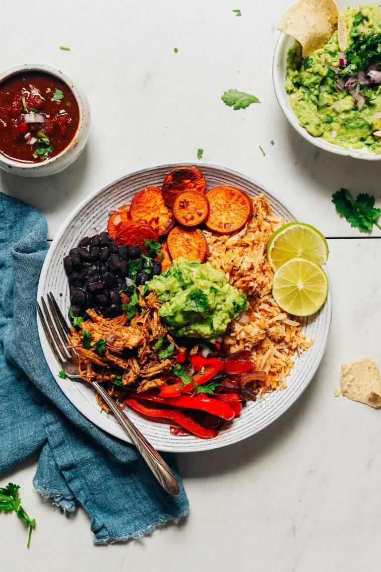 grain free burrito bowl with shredded chicken