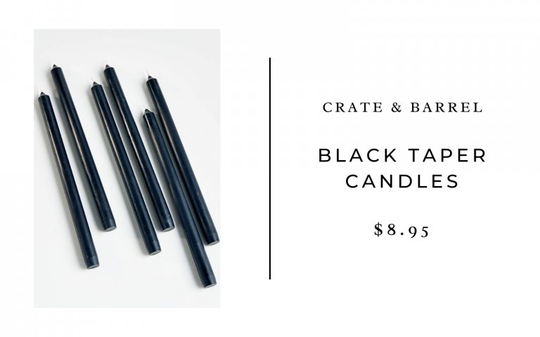 crate and barrel black taper candles