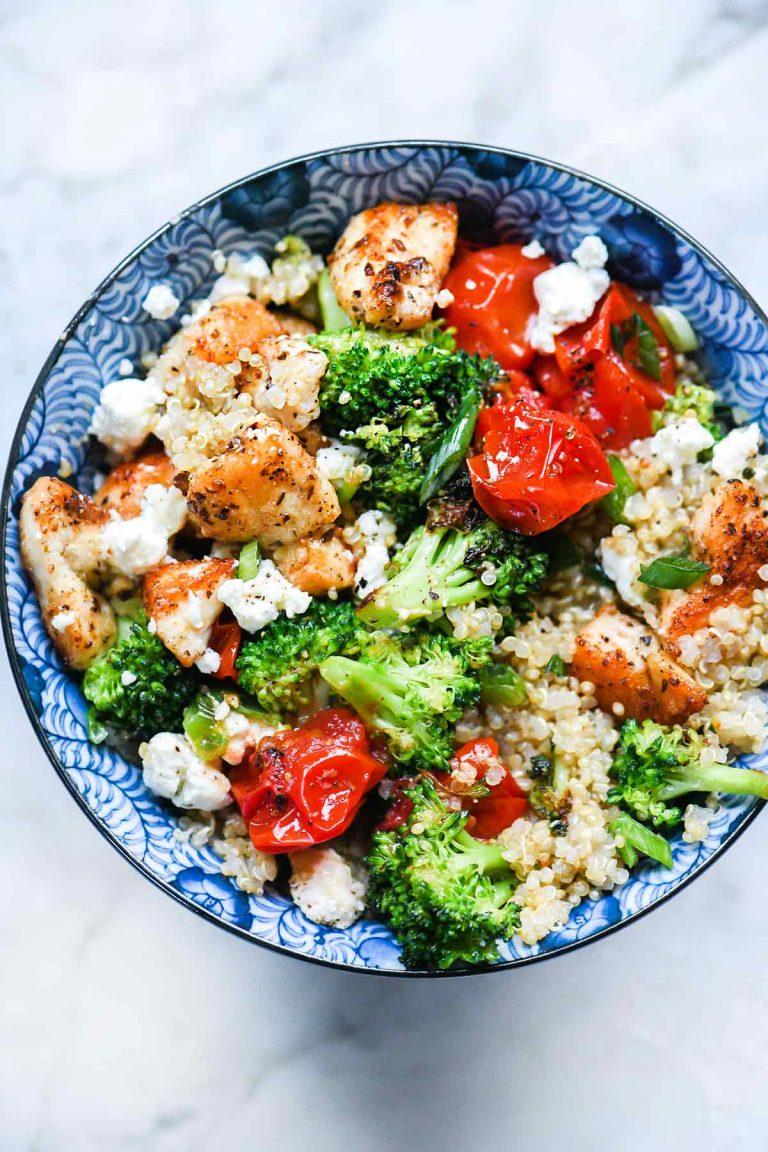 chicken quinoa broccoli bowl
