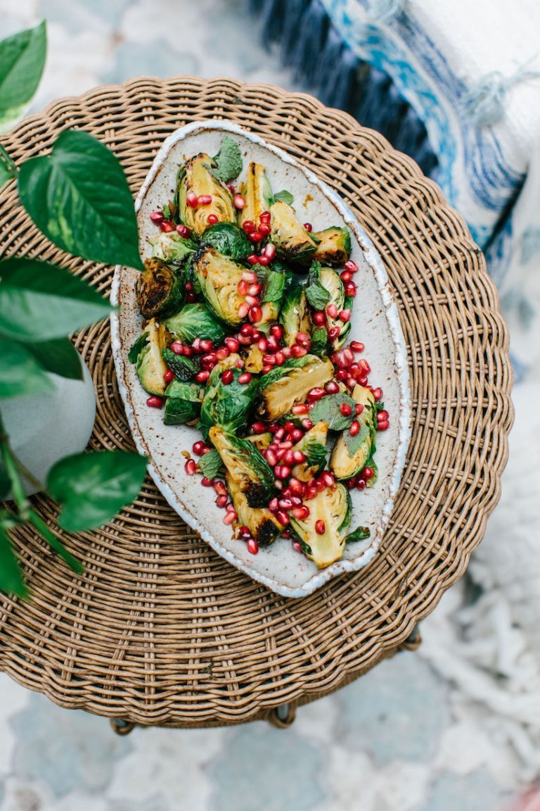 maple harissa brussels sprouts