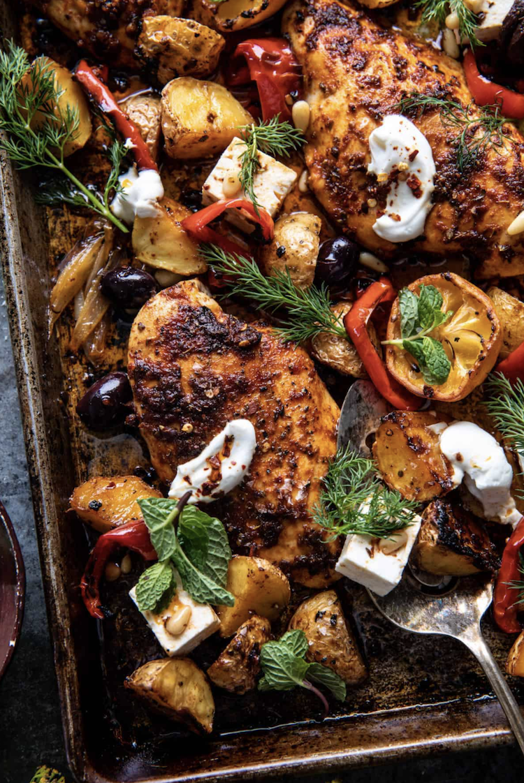 Simple Greek pan with chicken souvlaki and half-baked potatoes