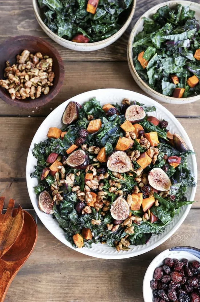 Roasted sweet potatoes and fig salad with maple and cinnamon cider vinegar rooted
