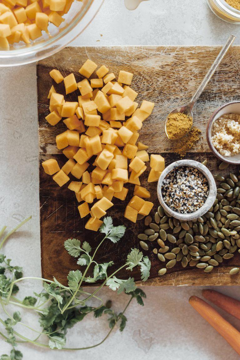 مواد لازم برای تهیه سوپ کدو تنبل گیاهی