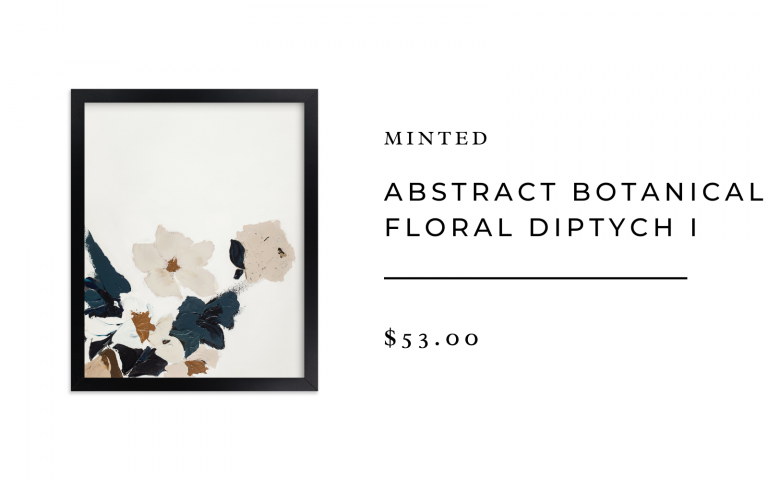 minted abstract botanical diptych